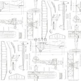 College Constructietekening van vliegtuigen wit 128812