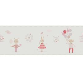 KonijntjesbehangRAND in roze beige framboosrood met ballon