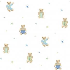 Teddy beren behang groen met ster 159