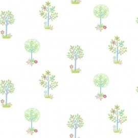 Bomen behang groen blauw 165