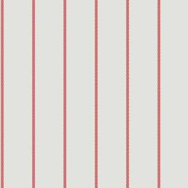 Streepjesbehang wit rood met stipjes