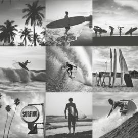 Donkergrijs behang met surfers 138955