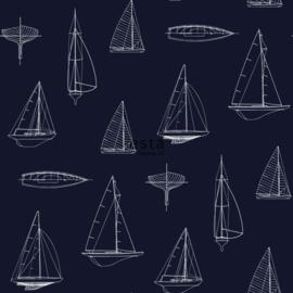Zeilboot behang  blauw 136428
