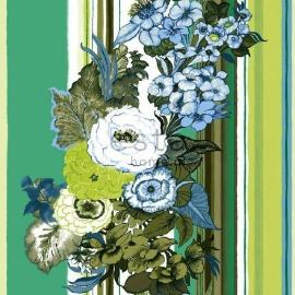 024. Streepbehang met bloemenmotief in groen/teale/crème