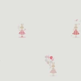 Konijntjesbehang in framboosrood grijs roze beige met ballon