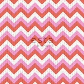 035. Esta Home Wolbehang met puntstreep in roze/koraaloranje