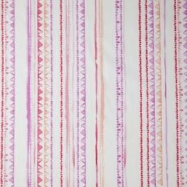 Caselio Streepjesstof in paars roze fuchsia zalmroze