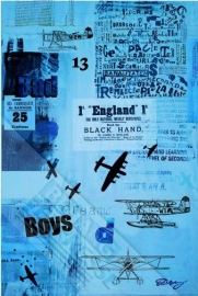 Onszelf Poster Blauwe kranten met vliegtuigen 3172