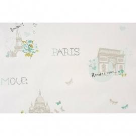 020. Caselio Parijs behang in teale/grijs/groen