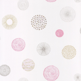 Stippen behang roze beige grijs 4011