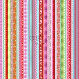 009. Streepjesbehang in roze/blauw/rood/teale/oranje/groen