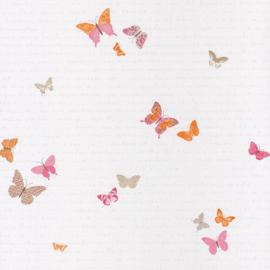Vlinderbehang  roze oranje beige grijs 4035