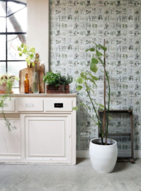 Esta Greenhouse  Botanische bloemenboek poster XXL warm grijs groen 158826