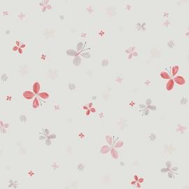 Vlindertjesbehang met bloemen in framboosrood grijs roze