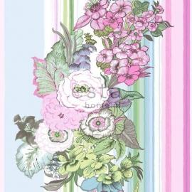021. Streepbehang met bloemenmotief in pastel roze/groen/blauw/paars