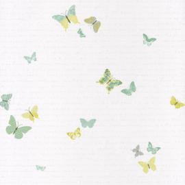 Vlinderbehang mint grijs groen 7079