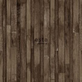 College Sloophout behang donkerbruin 138813