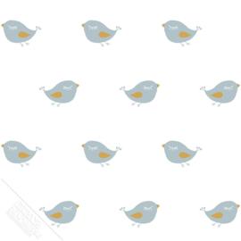 Vogelbehang wit met blauwe vogels en goud