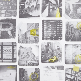 Life Foto behang Steden zwart wit geel