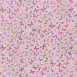 Vlinder STOF roze paars lila beige 4050
