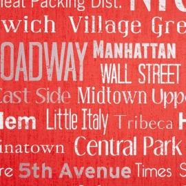 Life Manhattan behang Rood wit metalic grijs