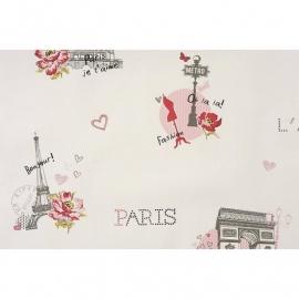 022. Caselio Parijs behang inroze/antraciet/zwart/framboosrood