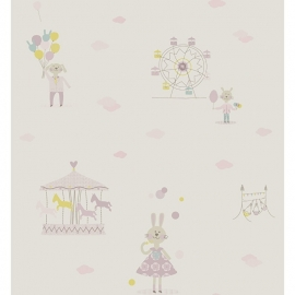 KonijntjesSTOF in lila groen blauw roze beige met ballon wolkjes reuzenrad en draaimolen