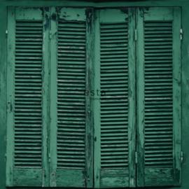 Esta Greenhouse Verweerde Louvre deuren behang intens smaragd groen 138885
