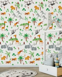 Behangexpresse Morris & Mila Wallprint Wildpark White INK7270