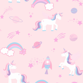 Unicorns, rockets and rainbows 90961  Roze