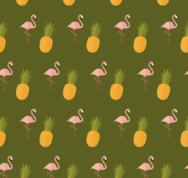 Flamingo behang met Ananas Renee groen