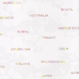 Wereldkaartbehang namen roze grijs groen 4578