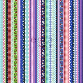 011. Streepjesbehang in blauw/rood/roze/groen/teale