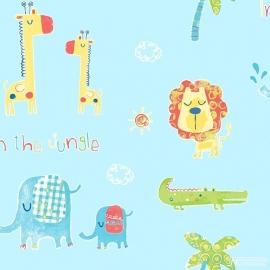 Jungle dieren blauw 146
