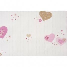 011. Hartjes en Knoopjes behang in roze/beige/
