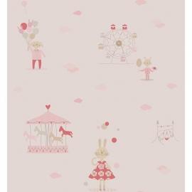 KonijntjesSTOF in roze grijs framboosrood beige met ballon wolkjes reuzenrad en draaimolen