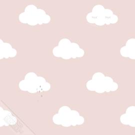 Wolkjesbehang roze met goud