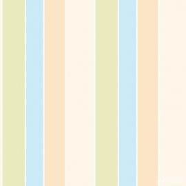 Streepbehang beige groen blauw 102