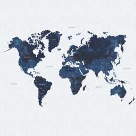 Esta Home Regatta Crew surf edition PhotowallXL Worldmap blue 158853