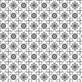 Grafische bloemen 27129 Zwart wit