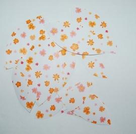 Behangblaadjes oranje bloemetjes