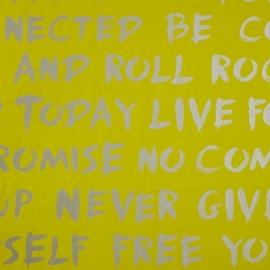 Life Woorden in geel zilver