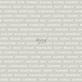 Grijs behang met nautische woorden 138958