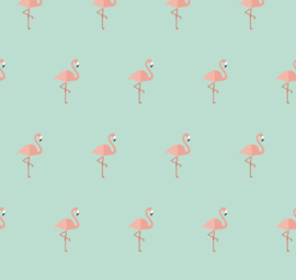 Flamingo behang Renee blauw