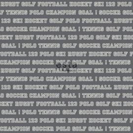 College Sport teksten behang donkergrijs wit 138803