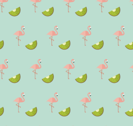 Flamingo behang met Kiwi Renee blauw