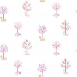 Bomen behang roze paars oranje 166