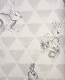 Onszelf Driehoekjesbehang met konijntjes grijs wit OZ 3269