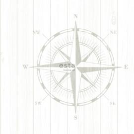 Kompas behang  creme grijs 138974