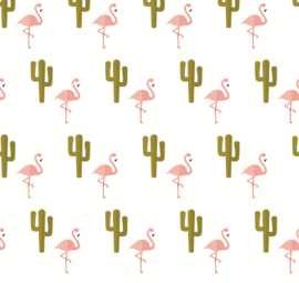 Flamingo behang met Cactus Renee wit